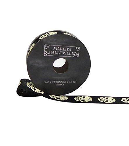 Maker's Halloween Ribbon 7/8''x 9' Ivory Skull on Black
