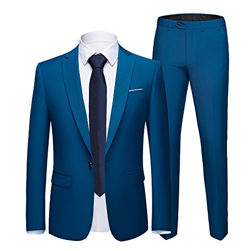 WULFUL Men's Suit One Button Slim Fit 2 Piece Suit for Men Casual/Formal/Wedding Party/Tuxedo (Royal Blue, ()