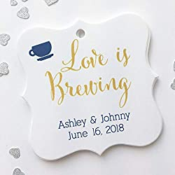 Love Is Brewing Favor Tags, Coffee Cup Wedding Favor Tags, Wedding Hang Tags (FS-095)