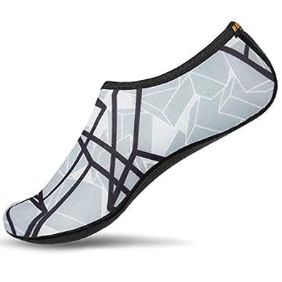 NBERA Barefoot Flexible Water Skin Shoes Aqua Socks for Beach Swim Surf Yoga Exercise (1.XXS (US Youth 10 EUR 26), Black Gray)