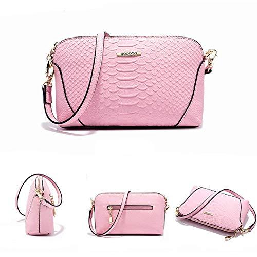 Embragues color Eeayyygch Bandolera Mujer Bolso Bag Pu Cuero Messenger Rosado Mini Negro qpgtnzxwpS