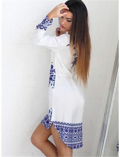 PU&PU Robe Aux femmes Ample Simple,Imprimé Col Arrondi Au dessus du genou Polyester , white-s , white-s
