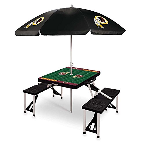 NFL Washington Redskins Picnic Table Sport with Umbrella Digital Print, One Size, Black by PICNIC TIME