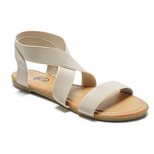 Trary Flat Sandals - Open Toe Cute Elastic Sandals for Women Beige 055