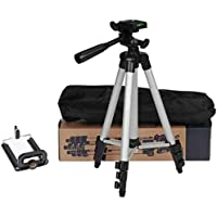 GLE Tripod-3110 Portable Adjustable Aluminum Lightweight Camera Stand with Three-Dimensional Head & Quick Release Plate for Video Cameras and Mobile Tripod(Black, Supports Up to 3000 g)(Black)