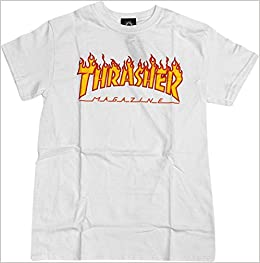 e4265ba2ca6a Amazon.com  Thrasher Magazine Flame White Medium T-Shirt (0672032102979)   Books