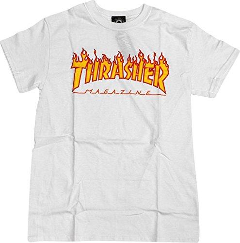 Thrasher Magazine Flame White Small T-Shirt