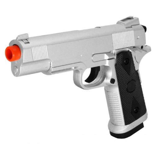 Silver Full Metal - UKARMS VAZM25 ZM25 1911 Spring Full Metal FPS-230 Airsoft Pistol, Silver
