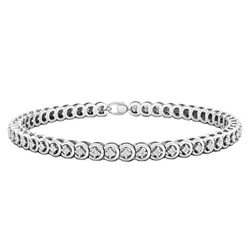 - Dazzlingrock Collection 1.00 Carat (ctw) Round Cut White Diamond Ladies Tennis Bracelet 1 CT, Sterling Silver