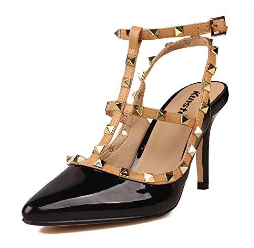 Kunsto Women's Synthetic Leather T-Strap Rivet Studded Sandal Black Patent US Size ()