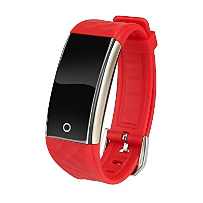Cocare S2 Smart Band Touch Screen Smartwatchs Waterproof Fitness Tracker Sport Wristband with Sleep Monitor Pedometer for Android iOS-Red