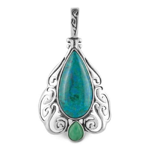 Relios Sterling Silver Chrysocolla Art Deco Pendant Enhancer by Relios Jewelry