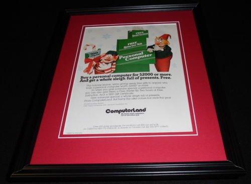 1982 Computerland Christmas Framed 11x14 ORIGINAL Advertisement