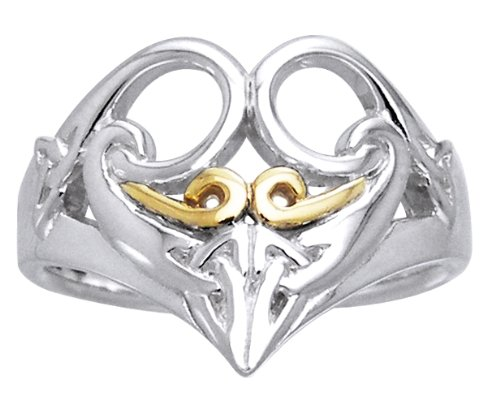 Celtic Triskele Knotwork Sterling Silver and Gold Ring