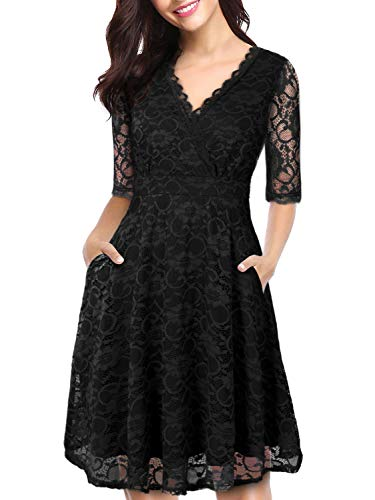 LECCECA Women Elegant Lace Dress V Neck Half Sleeves Fit and Flare Cocktail Wedding Party Dress with Pockets (Black, L) (Sleeve Dress Brocade)