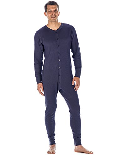 (Noble Mount Mens Waffle Knit Thermal Union Suit - Dark Blue - XLarge)