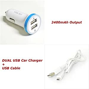 For ZTE Radiant Z740 / Whirl Z660G 2.4A White Dual USB Car Charger w/ USB Cable