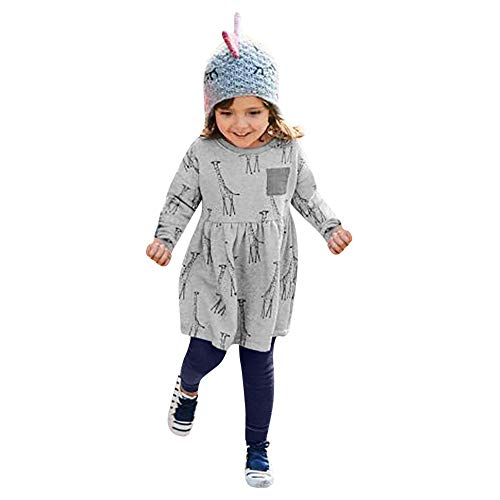 Tronet Winter Kids Baby Girls Long Sleeved Giraffe Print Dress+Pants Set Outfit (Gray, 3T(Age:2-3Years))