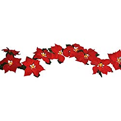 FANStek 2AA Battery LED Lighted Red Poinsettia Garland with Holly Leaves ,6 Feet,Perfect Holiday and Christmas Decoration