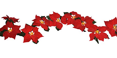 Velvet Garland (FANStek 2AA Battery LED Lighted Red Poinsettia Garland with Holly Leaves ,6 Feet,Perfect Holiday and Christmas Decoration)
