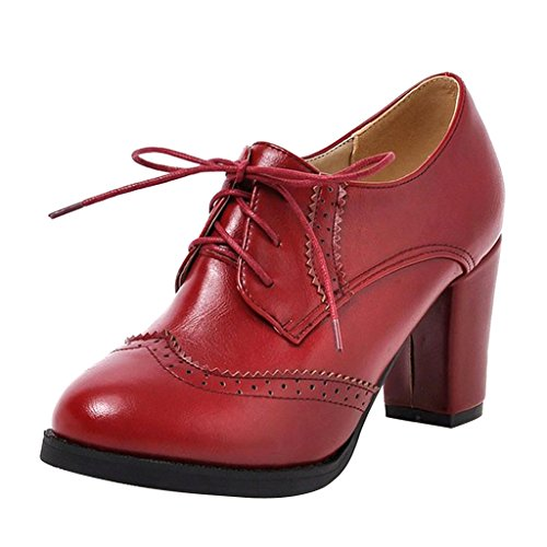 (Dear Time Block Heels Wingtip Oxfords Vintage PU Leather Brogue Shoes Woman US 7 Red)