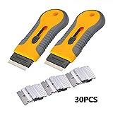 GOCTOS Razor Blade Scraper Tool Glass Ceramic Metal Scraper,Sticker Glue Paint Adhesive Decal Scraper+30pcs Carbon Steel Blades(2 PCS)