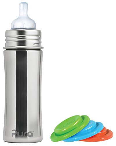 Pura Kiki Stainless Steel Infant Bottle, Natural, Silicone S