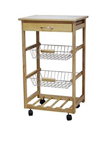 JA Marketing Pine Wood Kitchen Cart with Baskets and 4-Slot Wine Holder