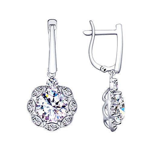 (Paradis Love Sokolov 925 Sterling Silver CZ English Lock 7 Stone Earrings with Genuine Round Cubic Zirconia Swarovski Crystals Girls Women Gift Package (Flower))