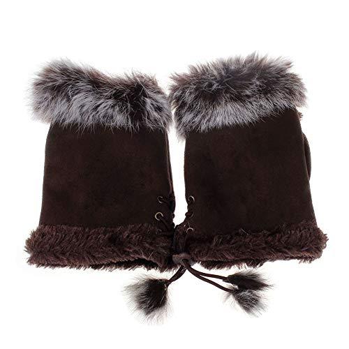 URIBAKE Women's Girls' Hand Warmer Thermal Faux Rabbit Fur Fingerless Wrist Warmer Gloves from URIBAKE