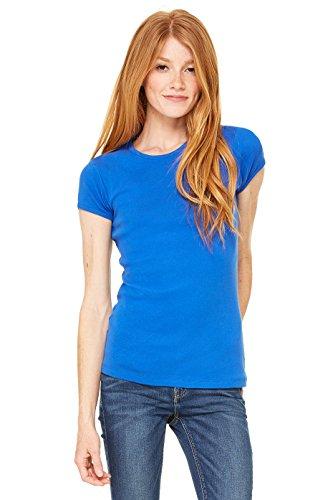 Bella Mujer de manga corta de cuello redondo Camiseta Baby de canalé azul cobalto