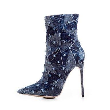 Botas de mujer Gladiator Denim Otoño Invierno Casual Office &Carrera parte &vestido de noche Gladiator Split Plaid conjunta Stiletto HeelLight Light Blue