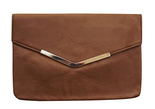 - Chicastic Suede Envelope Clutch Purse - Brown