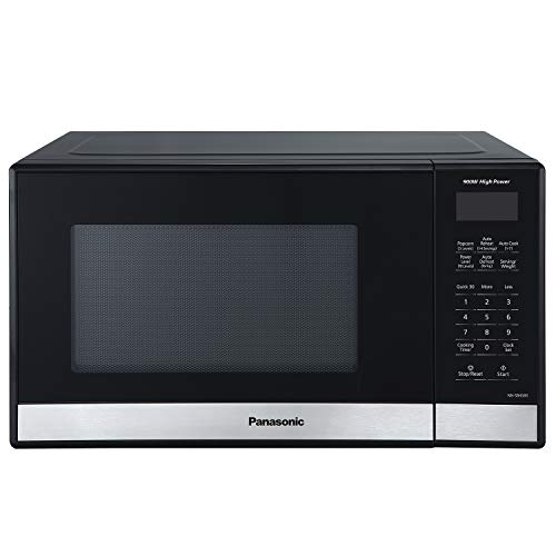 Panasonic Compact Microwave Oven with 900 Watts of Cooking Power, Popcorn Button, Quick 30sec and Auto Defrost - NN-SB458S - 0.9 cu. ft (Black)