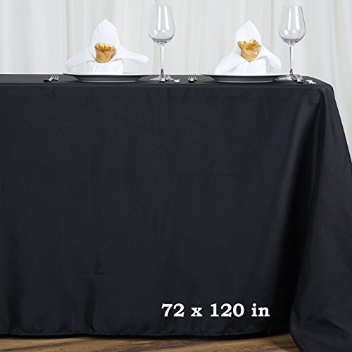(Efavormart 72x120 Black Wholesale Linens Polyester Tablecloths Banquet Linen Wedding Party Restaurant Tablecloth)