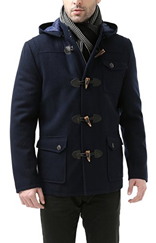 BGSD Men's Nathan Wool Blend Patch Pocket Short Toggle Coat, Navy, X-Large ()