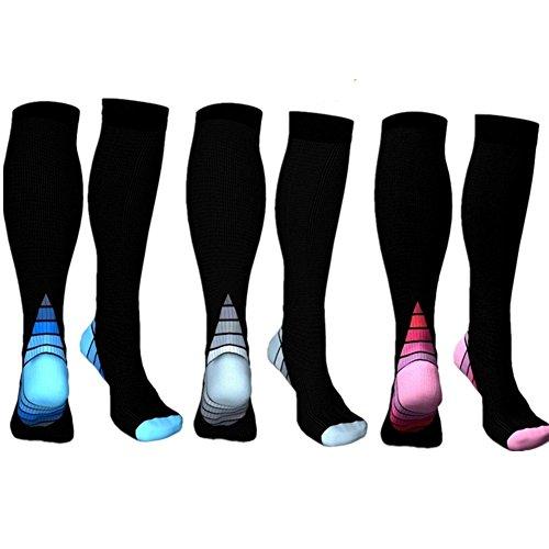 3 Pairs Medical&Althetic Compression Socks for Men, 20-30 mmHg Nursing Performance Socks for Edema, Diabetic, Varicose Veins,Shin Splints,Running Marathon (Blue Heel+Grey Heel+Pink Heel)