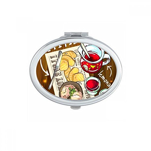 Appetizer Lemonade Steak France Oval Compact Makeup Pocket Mirror Portable Cute Small Hand Mirrors Gift
