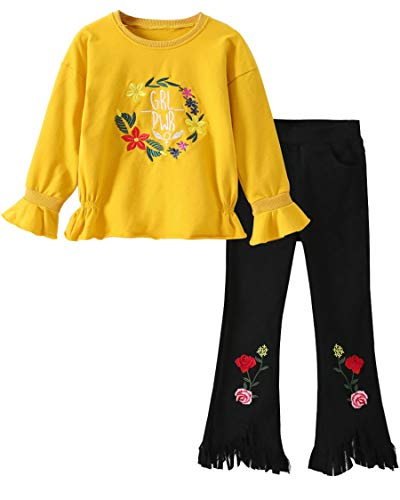 M RACLE Cute Little Girls' 2 Pieces Long Sleeve Top Pants Leggings Clothes Set Outfit (5-6 Years, Yellow) by M RACLE