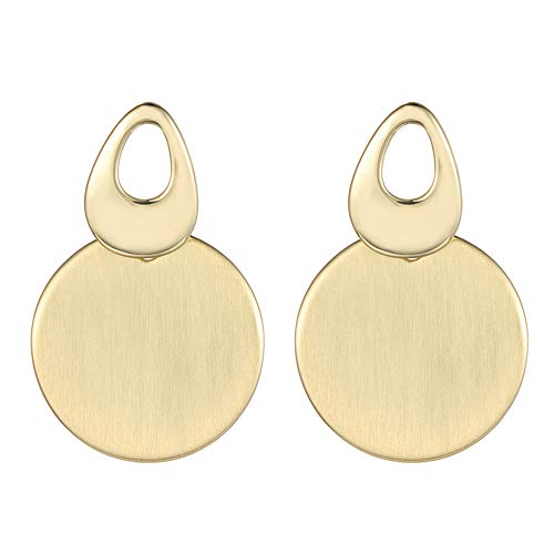 XZP Round Fashion Metal Statement Disc Drop Earring Brushed Gold Dangling Earrings for Women Jewelry ()