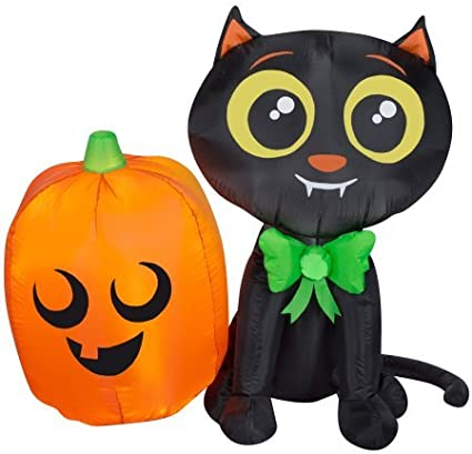 Indoor Outdoor Airblown Inflatable Cat And Pumpkin Patio Halloween Decoration Garden Outdoor