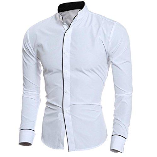 Hunzed Men Fashion Personality Long Sleeve Shirt Casual Stand-Collar Tops Slim Long-sleeved Shirt (White, XL)