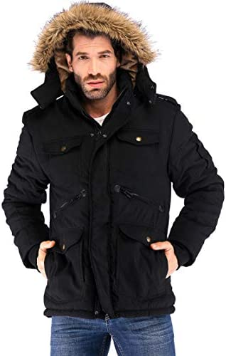 Yozai Men's Winter Jacket Military Warm Fleece Coat with Detachable Hooded Outwear
