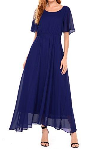 Zeagoo Women's Casual Short Sleeve O Neck Flare Flowy Chiffon Long Maxi Wedding Formal Dress