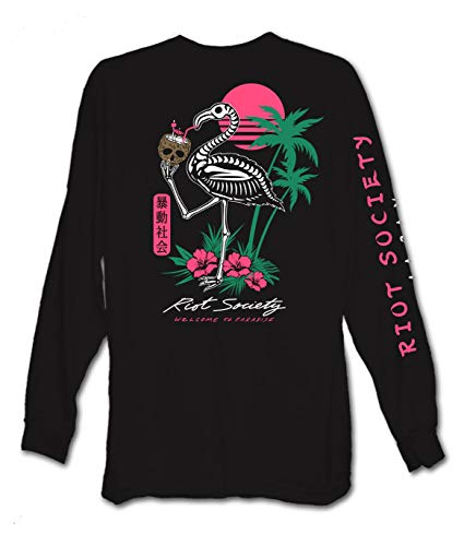 Riot Society Tropical Skeleton Flamingo Womens Long Sleeve Tee - Black, Large