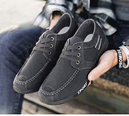 Gris Zapatos Ligero Ponerse Lona Suave Moda Zapatilla Deporte Hombre Plano Mocasines Zapatos CUSTOME de Respirable Ocio Cómodo aqg5zTwx