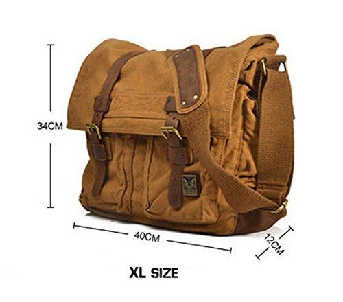 BAO Herren Taschen Herren- & Damentaschen Business Aktentaschen Computer Taschen Canvas Damentaschen Crazy Horseskin Vintage-Mode Lässig Schultertaschen XL-BROWN mQTHsz8Etd