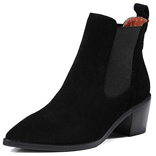 Nio Sju Mocka Kvinna Spetsiga Tå Chunky Häl Elastisk Handgjorda Kyla Fantastiska Boots Svart