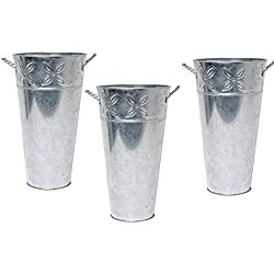 "Hosley Set of 3 Galvanized Vases 12"" High Each. French Bucket Design. Ideal Gift for Wedding, Special Events, Aromatherapy, Spa, Reiki, Meditation. O3"