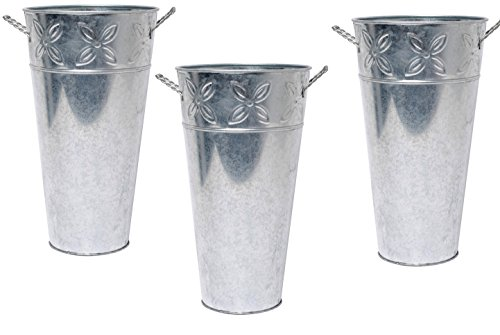 Hosley Set of 3 Galvanized Vases 12 Inch High Each. French Bucket Design. Ideal Gift for Wedding, Special Events, Aromatherapy, Spa, Reiki, Meditation. O3